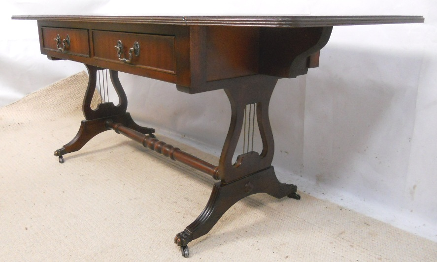 Sold Leather Top Mahogany Sofa Coffee Table In Antique